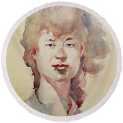 Round Beach Towel featuring the painting Wc Portrait 1626 My Sister Eunja by Becky Kim