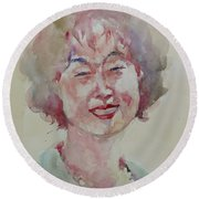 Round Beach Towel featuring the painting Wc Portrait 1627 My Sister Hyunju by Becky Kim