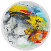 Round Beach Towel featuring the drawing We Are One by Helen Syron