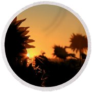 Round Beach Towel featuring the photograph We Are Sunflowers by Chris Berry