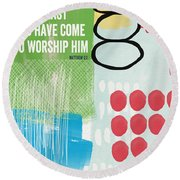 We Come To Worship- Contemporary Christmas Card By Linda Woods Round Beach Towel