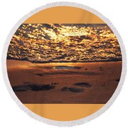 We Each Leave Our Mark, Momentarily Round Beach Towel