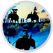 We March At Sunrise  Round Beach Towel