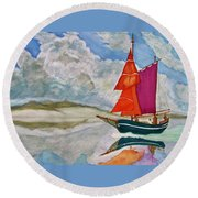 We Sailed Upon A Sea Of Glass Round Beach Towel by Rand Swift