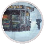 We Sell Flowers - Winter In New York Round Beach Towel