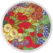 Round Beach Towel featuring the painting We Will Have Many Blooms #2 by Kym Nicolas