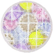 Round Beach Towel featuring the painting We Will Have Many Stars #2 by Kym Nicolas