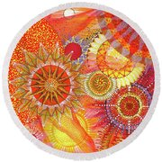 Round Beach Towel featuring the painting We Will Have Many Suns #2 by Kym Nicolas