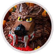 Wearwolf Cake With Pumpkins Round Beach Towel by Garry Gay