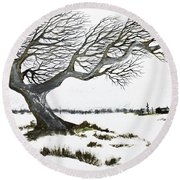 Round Beach Towel featuring the painting Weather Beat by Jack G Brauer