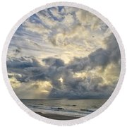 Weather Over Topsail Beach 2977 Round Beach Towel