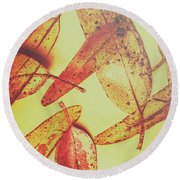 Weathered Autumn Leaves Round Beach Towel