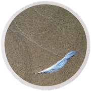 Weathered Feather  Round Beach Towel by Michelle Calkins