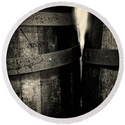 Weathered Old Apple Barrels Round Beach Towel by Bob Orsillo