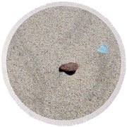 Weathered Rock And Beach Glass Round Beach Towel by Michelle Calkins