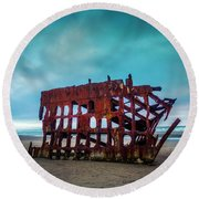 Weathered Rusting Shipwreck Round Beach Towel