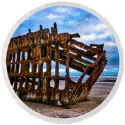 Weathered Shipwreck Round Beach Towel