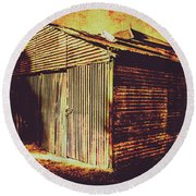 Weathered Vintage Rural Shed Round Beach Towel