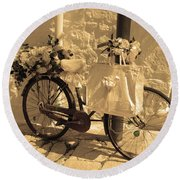 Wedding Bike Round Beach Towel