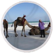 Wedding Camels In The Waiting ... Round Beach Towel