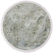 Wedding Dress Floral Beadwork Round Beach Towel