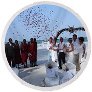Wedding Party In Rose Petals Round Beach Towel
