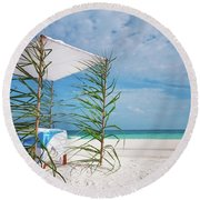 Round Beach Towel featuring the photograph Wedding Tent On The Beach by Jenny Rainbow
