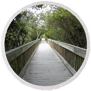Round Beach Towel featuring the photograph Weedon Island Boardwalk  by Chris Mercer