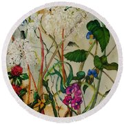 Weeds Round Beach Towel