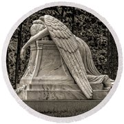 Weeping Angel - Sepia Round Beach Towel