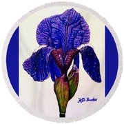 Weeping Iris Round Beach Towel