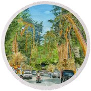 Round Beach Towel featuring the painting Weeping Janur Bali Indonesia by Melly Terpening