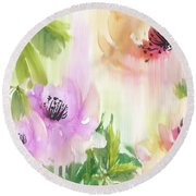 Round Beach Towel featuring the painting Weeping Rose Forest by Colleen Taylor
