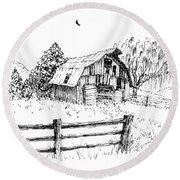 Weeping Willow And Barn One Round Beach Towel