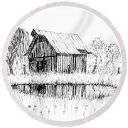 Weeping Willow And Barn Two Round Beach Towel