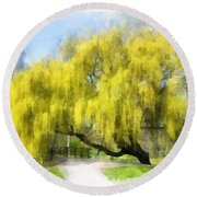 Weeping Willow Aquarell Round Beach Towel