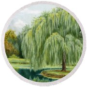 Under The Willow Tree Round Beach Towel
