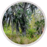 Round Beach Towel featuring the photograph Weeping Willow by Madeline Ellis