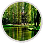 Weeping Willow Tree Reflective Moments Round Beach Towel