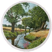 Weeping Willows At Beverley Brook Round Beach Towel