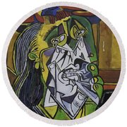 Picasso's Weeping Woman Round Beach Towel