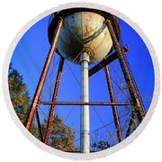 Round Beach Towel featuring the photograph Weighty Water Cotton Mill  Water Tower Art by Reid Callaway