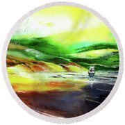 Round Beach Towel featuring the painting Welcome Back by Anil Nene