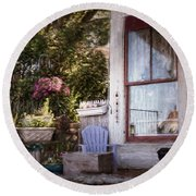Round Beach Towel featuring the photograph Welcome In by Robin-Lee Vieira