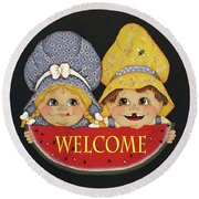 Welcome Sign - Watermelon Kids Round Beach Towel