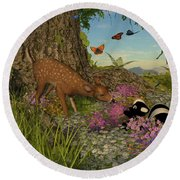 Round Beach Towel featuring the digital art Welcome Spring by Methune Hively