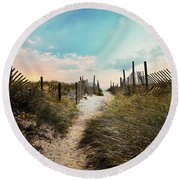 Welcome The Morning Round Beach Towel