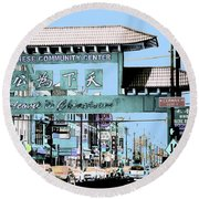 Welcome To Chinatown Sign Blue Round Beach Towel by Marianne Dow