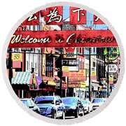 Welcome To Chinatown Sign Red Round Beach Towel by Marianne Dow