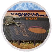 Welcome To Georgia Round Beach Towel by Donna Brown